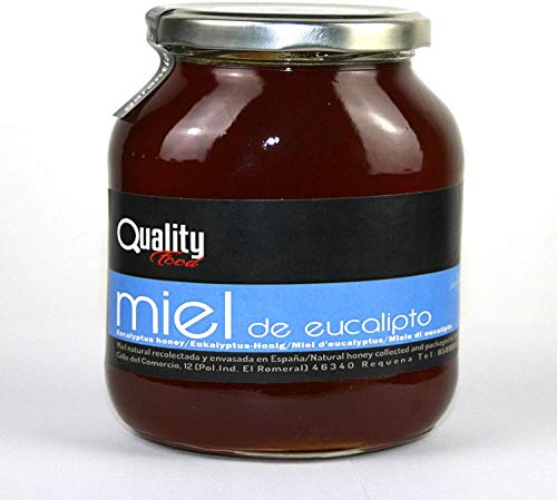 Miel pura de abeja 100{300ba9c675bcb8ce5db3ee8efc4e03986d03b6783478fcf85d9d30d9a2f77f3b}. Miel cruda de Eucalipto. 1 Kg. Producida en España. Sin pasteurizar ni calentar. Artesana de alta calidad. Tarro de cristal. Gran variedad de exquisitos sabores.