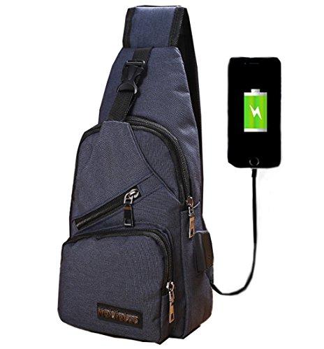 LemonGirl Sling Sac de poitrine avec chargement USB pour homme femme, unisexe, sac à dos bandoulière épaule pour voyage, randonnée, camping, cyclisme, mini sac à dos pour adulte Taille unique bleu