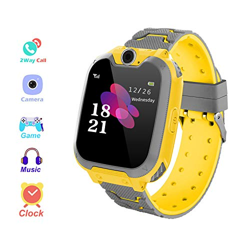 Kids Smart Watch Phone para niños IPX65 Impermeable Reloj Smart Phone Anti-perdido con función de cámara, Despertador SOS para el juego de puzle Estudiante Smart watch, Regalo Niño y Chica (Amarillo)