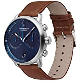 Nordgreen Pioneer Men's Chronograph Watch Scandinavian Silver 42mm with Navy Dial and Brown Strap 14039