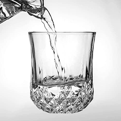 Vasos de whisky de 7,3 x 8,5 cm, 200 ml, 2 unidades de cristal en forma de diamante, juego de vasos de whisky retro sin plomo o whisky escocés