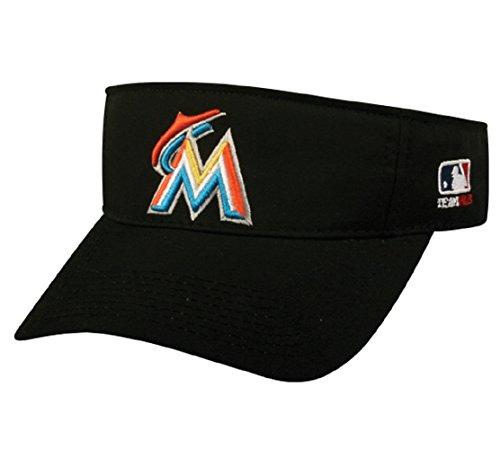 OC Sports Miami Marlins MLB Sun Visor Golf Hat Cap Black w/Orange M Logo Adult Men's Adjustable