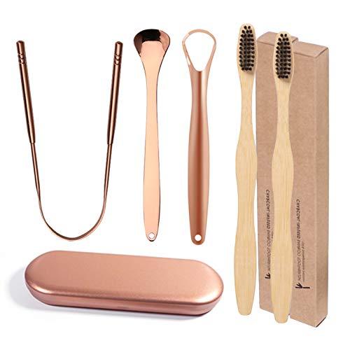 Limpiador lingual de cobre oro rosado – Juego de 5 limpiad