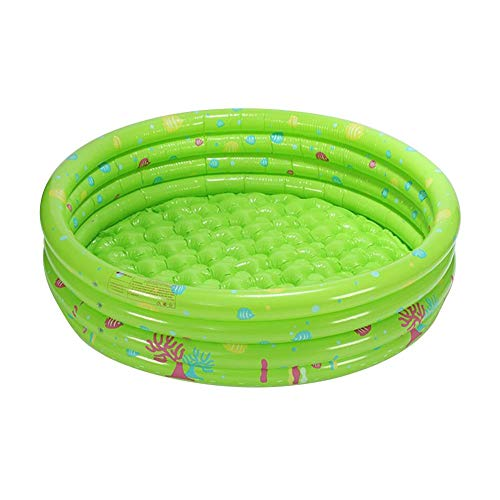 Aufblasbares Planschbecken mit drei Ringen 100 × 40 cm, runder Kinderballgrubenpool Einfaches Set Schwimmbad Wasserbecken Badewanne für Kinder Jungen Mädchen