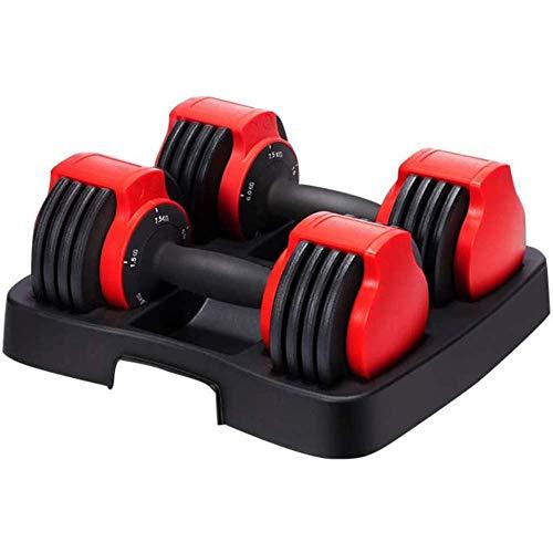 Juego de mancuernas ajustables de 15,5 kg, con placa de peso, cinco engranajes ajustables, gimnasio, en casa, ejercicio, levantamiento de pesas, entrenamiento de culturismo, juego de 2 pares