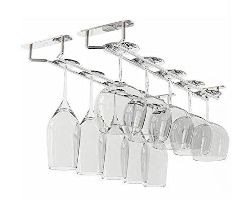 Porta bicchieri da vino a doppia fila da 30,5 cm, resistente in acciaio inox cromato, organizer con viti incluse per installare senza sforzo la tazza esclusa