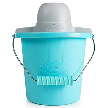Nostalgia Electric Maker with Easy-Carry Handle Makes 4-Quarts of Ice Cream Frozen Yogurt or Gelato in Minutes – Blue