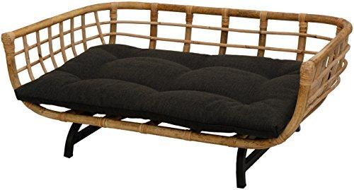 Korb-Outlet Exklusiver Retro-Design Hundekorb/Hundebett/Tierkorb Haustier Bett Groß aus Rattan mit Kissen/Modernes Bett für Katzen und Hunde Grösse XL (Natur)
