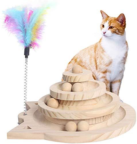 Cyten猫のおもちゃ 球遊び タワー 遊ぶ盤 ペット 木製おもちゃ 猫用ボール 回転 ボール 猫プレゼント 運動不足解消 知育玩具 安全素材 高級感 人気ペット用品 羽棒付 3層