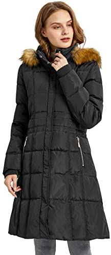 Orolay Quilted Down Jacket Women Winter Long Coat Puffer Jacket with Fur Hood Black S product image