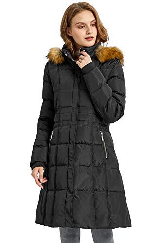 Orolay Chaqueta de Invierno Puffer de Plumas para Mujer con Capucha de Recorte de Piel Sintética Negro S