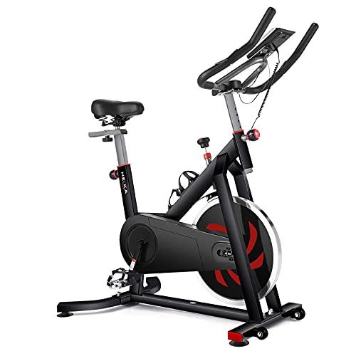 HEKA Heimtrainer Fahrrad, Hometrainer Speedbike mit 18 kg Stahlschwungrad, Fitness Fahrrad Spinning Bike Indoor, Fitnessbikes mit Magnetbremse, Pulsmesser, LCD-Anzeige, Flaschehalter, bis 200 kg