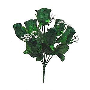 """Silk Flower Arrangements 5"""" Bouquet Soft Rose Buds Bush Wedding Silk Artificial Flowers"""