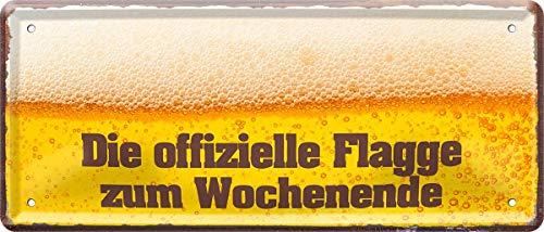 Die offizielle Flagge zum Wochenende Bier 28 x 12 cm Spruch Deko Blechschild 343