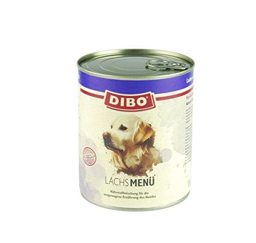 DIBO – MENÜ LACHS, 800g-Dose mit Naturreis, Karotten und Distelöl, DIBO-Qualität