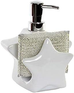 Dosificador de Jabón para Cocina realizado en Dolomite, con Soporte para Esponja/Estropajo. Diseño de Estrella - Hogar y Más - Blanco