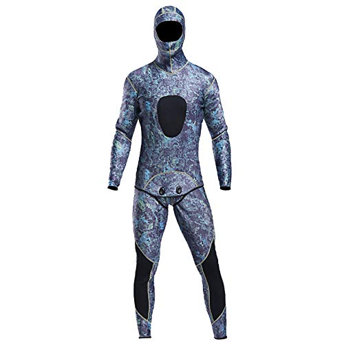 #N/A Camo Spearfishing Wetsuits Men Two-Piece Hooded Full Length Scuba Diving Suit Full Body Thermal Warm Snorkeling Suits for Surfing, Swimming - Coral Blue L