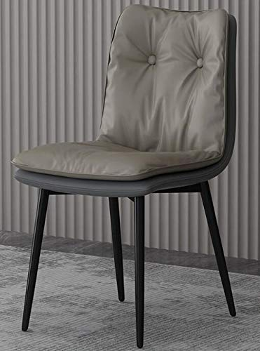Dining Chair Soft Leather Seat Armless Chair for Home Kitchen Dining Room Cafe with Solid Metal Legs And Backrest,Gray