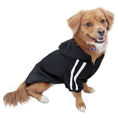 DULEE Hund Warme Hoodies Mantel Jumpsuit Haustier Kleidung Jacke Pullover Baumwolle Pullover Outwear Schwarz XXL