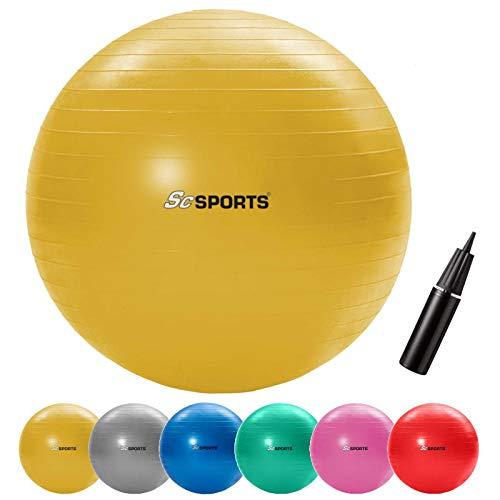 ScSPORTS Gymnastikball, Sitzball zur Entlastung der Wirbelsäule, als Yogaball geeignet, Ø 65 cm, Gelb