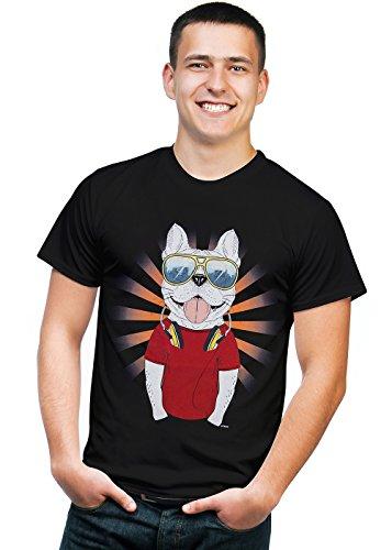 Retreez Divertida camiseta con diseño de hipster DJ Bulldog con auriculares -...