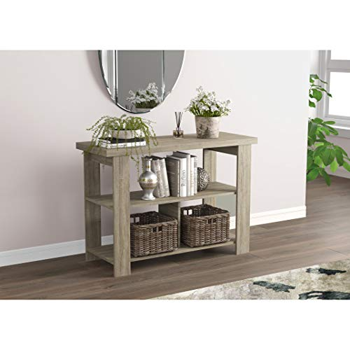 UKN Console Table 41.25l Dark Taupe 3 Shelves 41'5 X 15'5' 29' Modern Contemporary Rectangle MDF Shelf
