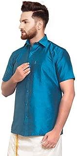 SJS-Men's Half Sleeve Solid Art Silk Shirt (Peacock Blue, 36)