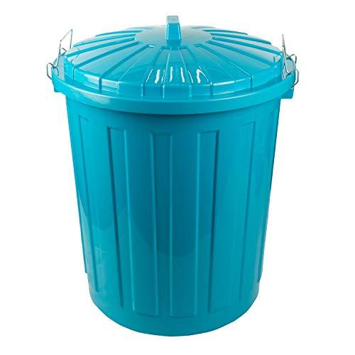 HRB Maxitonne 50 Liter türkis, Tonne aus stabilem Hartplastik, abnehmbarer Deckel mit Metallverschlüssen, geeignet für Wäsche, Spielzeug oder als Mülleimer Küche