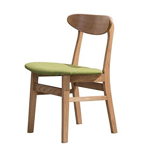 LXGANG Silla de comedor 2 sillas creativo del color de la nuez de madera maciza Sillas de comedor Silla de oficina Silla Silla Silla de roble Tela café de cocina (Color: verde, Tamaño: 45cm x 45cm x 7