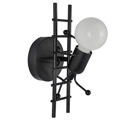 FengShang Lámpara de pared E27 Humanoid creativa, de metal, retro, vintage, industrial, LED, moderna y sencilla, para dormitorio, salón, escaleras, pasillo, restaurante, cocina (negro)