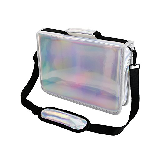 YOUSHARES 160 Slots Holographic Pencil Case - Laser PU Plating Color Large Capacity Zipper Pen Bag for Prismacolor Watercolor Pencils, Crayola Colored Pencils, Marco Pens & Cosmetic Brush (Silver)