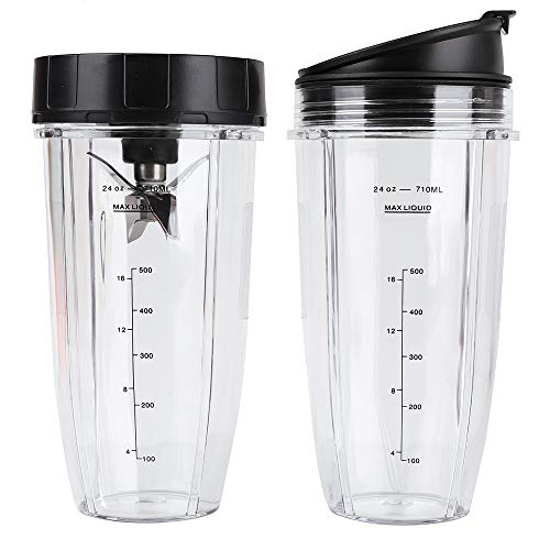 24 oz Cups with Sip & Seal Lids and 7 Fins Bottom Extractor Blades, 710ML Measuring Scale Cup Mug Replacement Parts Compatible with Nutri Ninja Auto IQ BL682-30 BL642-30 BL450-30 BL482-30 BL687CO-30