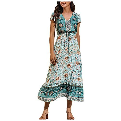 Briskorry Boho klänningar damer sommarklänning V-ringad maxiklänning kortärmad strandklänning lång A-linje klänning maxiklänning damer sommar blommor sommarklänningar långa klänningar kortärmad strandklänningar med dragsko