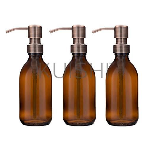 Kuishi - Set Regalo di Tre Bottiglie Dispenser di Sapone Color Ambra, Bronze, 250 ML