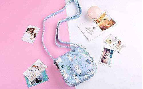 SAIKA Tasche Hülle für Fujifilm Instax Mini 9/8/8 + Sofortbildkamera, Vintage Compact Schutztasche mit Schultergurt & Tasche (Alpaka)
