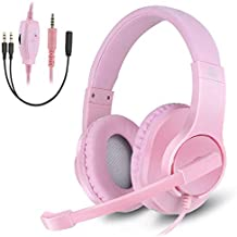 Gaming Headset for Xbox One, PS4, Nintendo Switch, DIWUER Bass Surround and Noise Cancelling 3.5mm Over Ear Headphones with Mic for Laptop PC Smartphones, Pink