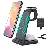 3 in 1 Wireless Charger, Fast Wireless Charging Dock Stand Compatible iPhone 12/12 Pro/12 Pro Max/11/11 Pro Max/XR/XS Max/XS/X, iWatch SE/6/5/4/3/2/1, Airpods Pro/2, Included QC 3.0 Adapter