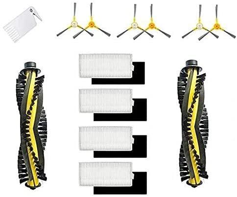 NICERE Recambios de aspirador de repuesto cepillo de rodillo filtro lateral cepillos laterales para Neatsvor X500 Tesvor X500 X500 Pro Robot Partes de aspirador