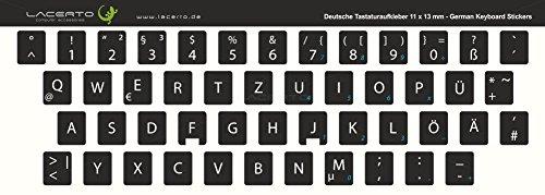 Lacerto® | 11x13mm Deutsche Tastaturaufkleber für PC & Laptop, mit mattem Schutzlaminat | Farbe: Schwarz