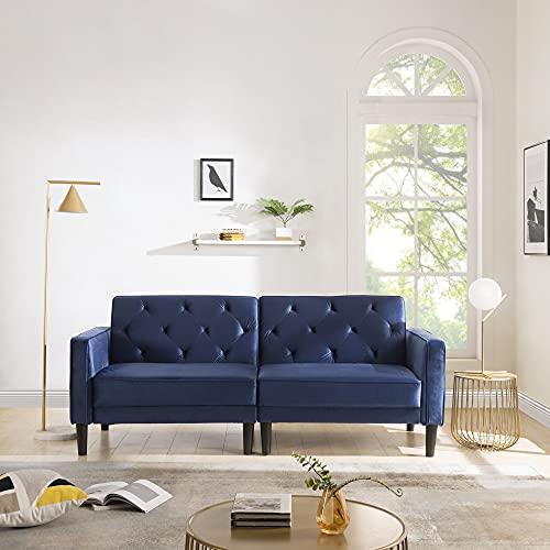 Mingfuxin, divano letto in morbido velluto a 3 posti, divano imbottito in tessuto moderno con gambe in legno, per soggiorno, camera degli ospiti, ufficio, colore: blu