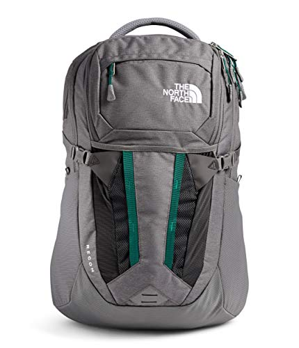 The North Face Recon Laptop Backpack, Zinc Grey Dark Heather/Evergreen, One Size