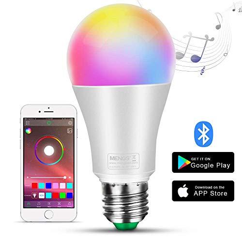 MENGS Smart LED Lampe E27 Bluetooth Glühbirne 10W Birne RGB Dimmbar Bulb mit Mehreren Farben Glühbirne 1000LM steuerbar via App dimmbare