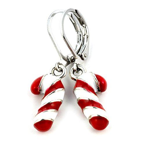 SCHMUCKZUCKER Ohrhänger Zuckerstange Edelstahl Ohrringe Weihnachten Silber Rot Weiß