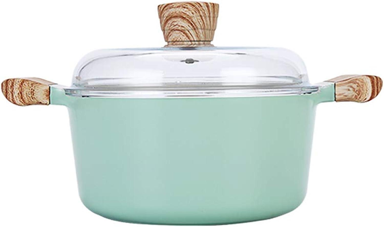 bienvenido a elegir YONGMEI Sartén Antiadherente Olla de de de Sopa de Piedra Maifan, Oreja-Cocina Manija de baquelita Anti escaldado Cubierta de Vidrio 2.7L verde Menta (Color   verde)  saludable