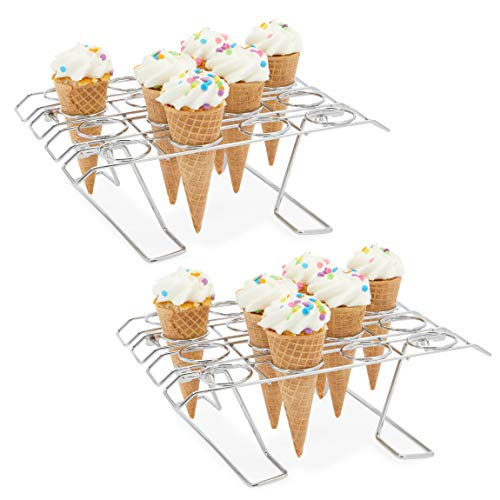 Ice Cream Cone Holder Stands for Party, Baking Rack (10.8 x 7.9 x 3.5 in, 2 Pack)