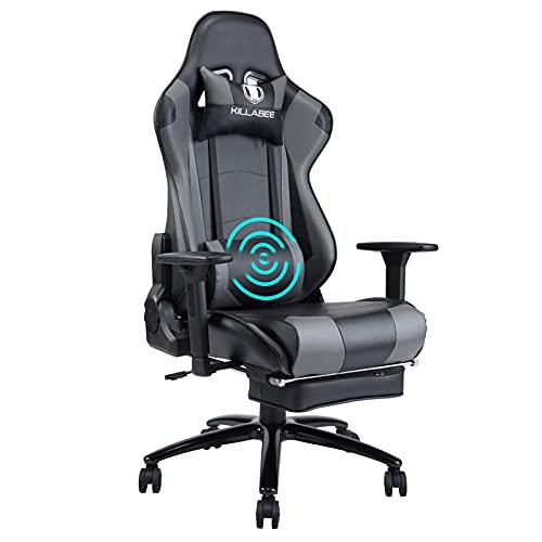 KILLABEE Gaming Stuhl Massage Lendenkissen Einziehbare Fußstütze