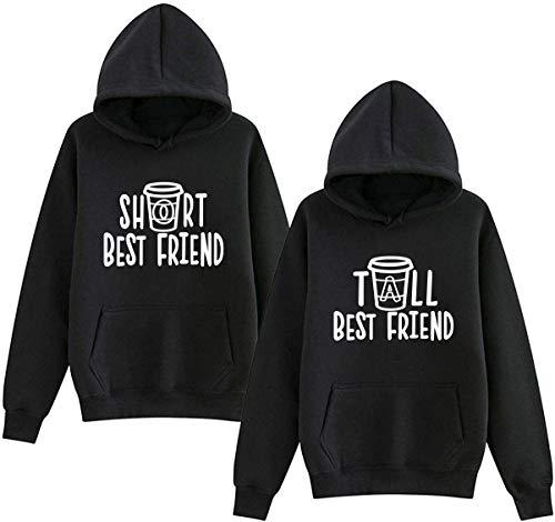 Mixcept Beste Freunde Pullover Best Friends Hoodie BFF Pullover Sister Kapuzenpullover Damen Pulli 1 Stück -Schwarz-Tall-M