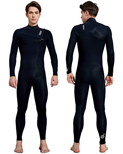 Men's Surfing Wetsuit Full Body GBS 3/2mm Neoprene Premium Thermal Chest Zip Liquid Taped Wetsuit (Black, Large Tall)