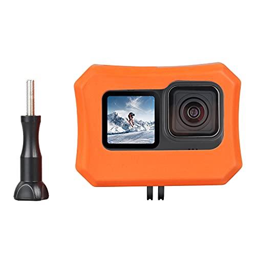 HSU Floaty Case für GoPro Hero 10 und Hero 9, Auftriebskoffer Cover Floater Anti-Sink Floating Zubehör für Wassersport Surfen Schwimmen Tauchen (Orange)