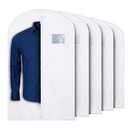 """PLX Hanging Garment Bags for Storage and Travel – Suit Bag, Dress Shirt, Coat and Dress Cover with Window & Zipper Set (5 Pack White: 40"""" x 24"""")"""
